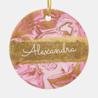 Ornamento De Cerâmica Mármore cor-de-rosa e branco com faísca & brilho