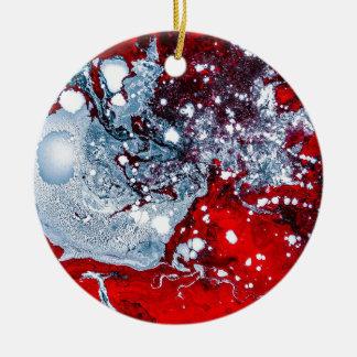 Ornamento De Cerâmica Mármore vermelho e azul do espaço