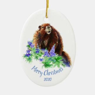 Ornamento De Cerâmica Marmota datado feita sob encomenda do Natal,