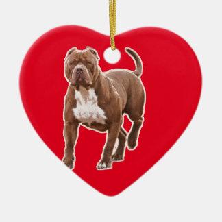 Ornamento De Cerâmica Marrom do pitbull