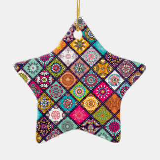 Ornamento De Cerâmica Marroquino colorido do teste padrão da mandala