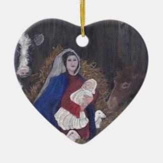 Ornamento De Cerâmica Mary e bebê Jesus