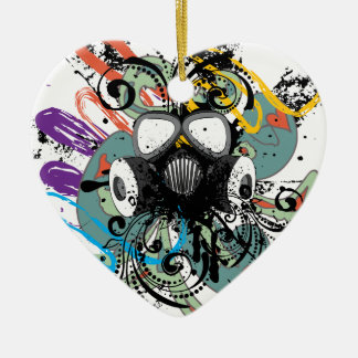 Ornamento De Cerâmica Máscara de gás floral do Grunge