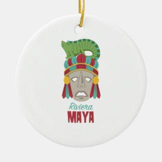 Ornamento De Cerâmica Máscara do Maya de Riviera