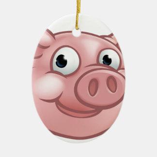 Ornamento De Cerâmica Mascote bonito do caráter do porco dos desenhos