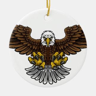 Ornamento De Cerâmica Mascote calva de Eagle do americano