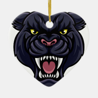 Ornamento De Cerâmica Mascote da pantera preta