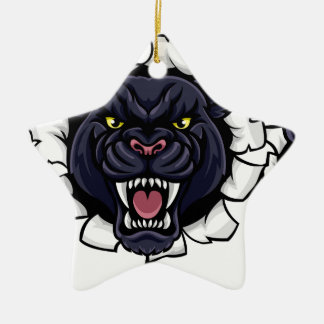 Ornamento De Cerâmica Mascote do basebol da pantera preta que quebra o