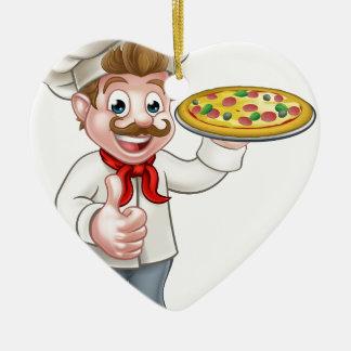 Ornamento De Cerâmica Mascote do caráter do cozinheiro chefe da pizza
