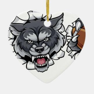 Ornamento De Cerâmica Mascote do futebol americano do lobo que quebra o