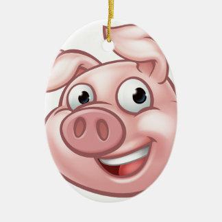 Ornamento De Cerâmica Mascote do personagem de desenho animado do porco