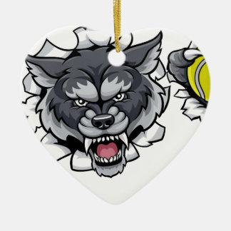 Ornamento De Cerâmica Mascote do tênis do lobo que quebra o fundo