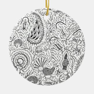 Ornamento De Cerâmica Matéria têxtil indonésia abstrata com pássaros