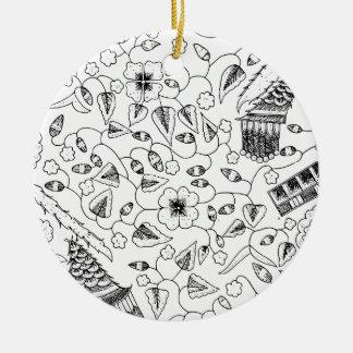 Ornamento De Cerâmica Matéria têxtil indonésia florido com pássaros