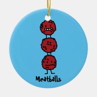 Ornamento De Cerâmica Meatball dos Meatballs empilhado sobre se