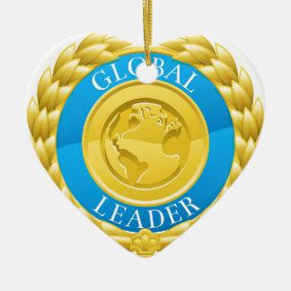Ornamento De Cerâmica Medalha global da grinalda do louro do vencedor do