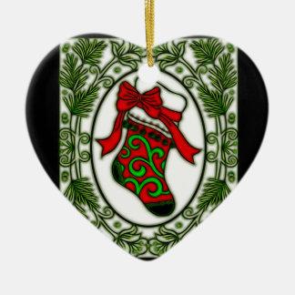 Ornamento De Cerâmica Meia do Natal no quadro 1a