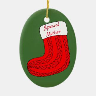 Ornamento De Cerâmica Meia personalizada do Natal