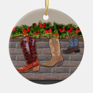 Ornamento De Cerâmica Meias da bota de vaqueiro pela lareira