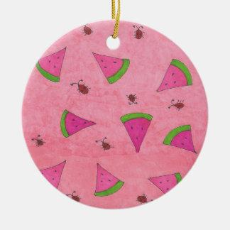 Ornamento De Cerâmica Melancia e senhora cor-de-rosa Insetos