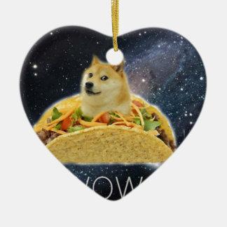 Ornamento De Cerâmica meme do taco do espaço do doge