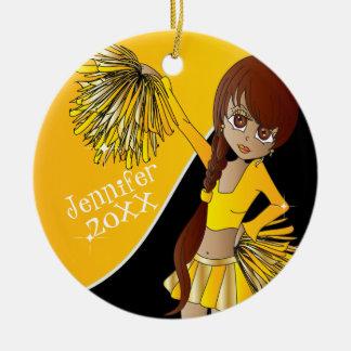 Ornamento De Cerâmica Menina amarela do cheerleader do elogio