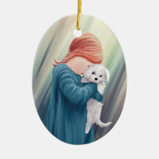 Ornamento De Cerâmica Menina bonito com cão