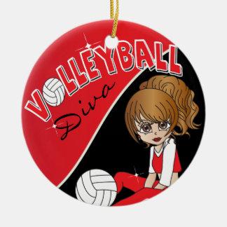 Ornamento De Cerâmica Menina bonito da diva do voleibol no vermelho
