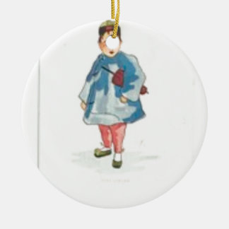 Ornamento De Cerâmica Menina chinesa pequena que guardara o guarda-chuva