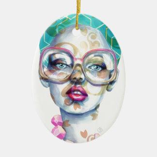Ornamento De Cerâmica Menina com arte Funky do Watercolour dos vidros