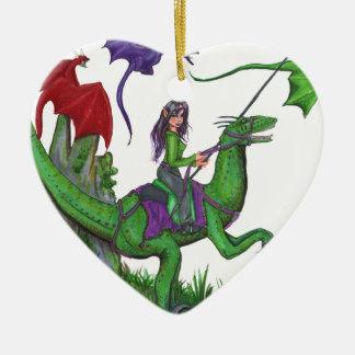Ornamento De Cerâmica Menina com dragões e dinossauros