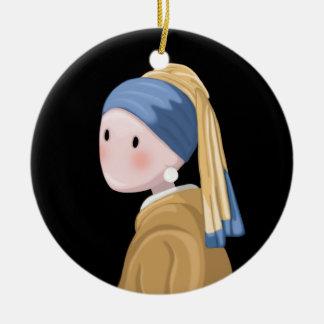 Ornamento De Cerâmica Menina com um brinco da pérola