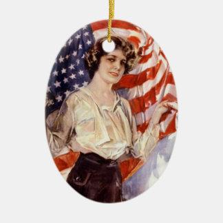 Ornamento De Cerâmica menina da bandeira americana do vintage