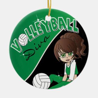 Ornamento De Cerâmica Menina desportiva da diva do voleibol em verde