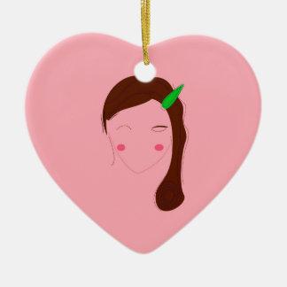 Ornamento De Cerâmica Menina do bem-estar do rosa da mulher de Ásia
