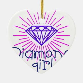 Ornamento De Cerâmica menina do diamante, gema que brilha