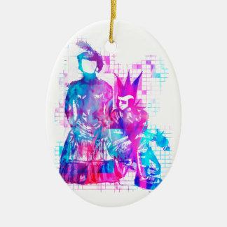 Ornamento De Cerâmica Menina do gótico do algodão doce e gajo do punk