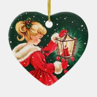 Ornamento De Cerâmica Menina do natal vintage com lanterna