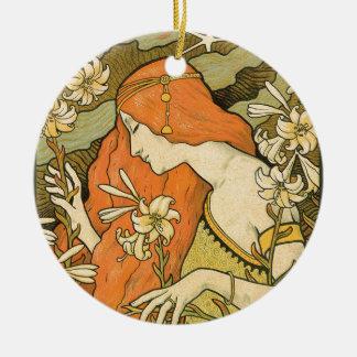 Ornamento De Cerâmica Menina do Pinup de Nouveau do francês no campo das