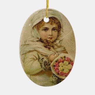 Ornamento De Cerâmica Menina do Victorian com rosas