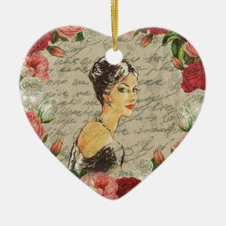 Ornamento De Cerâmica Menina do vintage