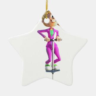 Ornamento De Cerâmica Menina dos desenhos animados em uma vara de Pogo