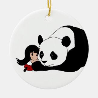 Ornamento De Cerâmica Menina e panda