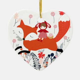 Ornamento De Cerâmica Menina e raposa vermelhas da equitação da capa no
