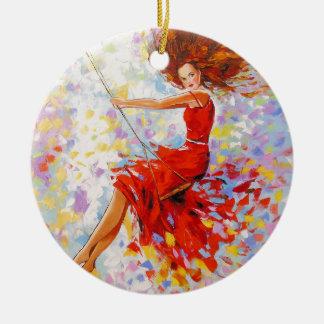 Ornamento De Cerâmica Menina em um balanço