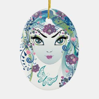 Ornamento De Cerâmica Menina floral Face3
