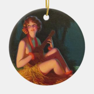 Ornamento De Cerâmica Menina no luar com Ukulele do banjo