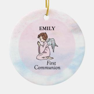 Ornamento De Cerâmica Menina, primeiro anjo do comunhão
