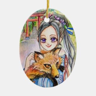 Ornamento De Cerâmica Menina que guardara o Fox
