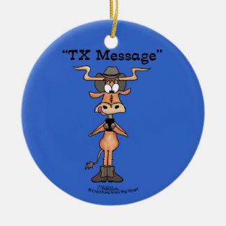 Ornamento De Cerâmica Mensagem do TX de Longhorn para o Natal